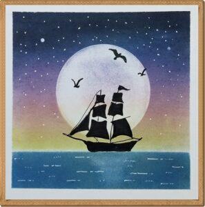 満月と帆船