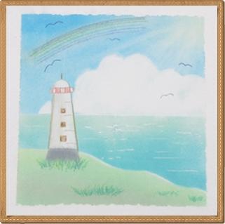 パステル和アート 灯台と虹