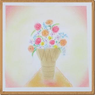 パステル和アート 花瓶の花