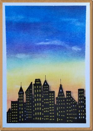 日暮れ時のニューヨーク摩天楼